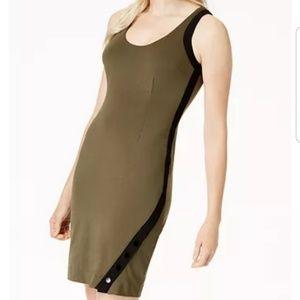 Bar III Snap Bodycon Dress Native Green XXL